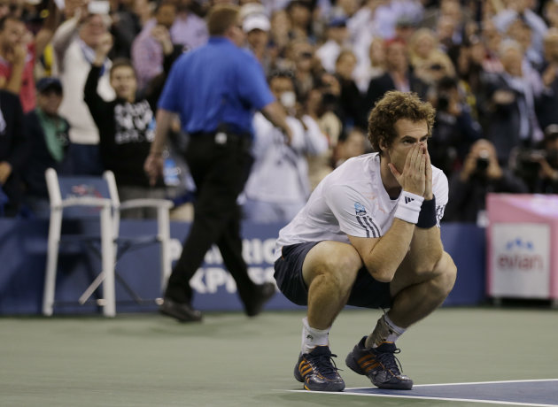 Britain's Andy Murray reacts after beating Serbia's Novak Djokovic in the championship match at the 2012 US Open tennis tournament, Monday, Sept. 10, 2012, in New York. (AP Photo/Charles Krupa)