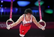 "Japanese gymnastics world champion Kohei Uchimura takes part in a training session in London on July 25. Uchimura has vowed to ""go on the rampage"" and break the Chinese stranglehold on men's Olympic gymnastics when the Games competition gets underway on Saturday"