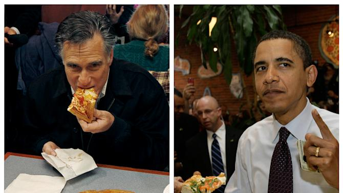 """In this combination of file photos, Republican presidential candidate former Mass. Gov. Mitt Romney, left, takes a bite of pizza during lunch with his wife Ann while campaigning at Village Pizza in Newport, N.H., Dec. 20, 2011, and then-Senator Barack Obama, right, takes a bite of pizza at American Dream Pizza in Corvallis, Ore., March 21, 2008. Pizza Hut is rethinking its contest daring people to ask """"Sausage or Pepperoni?"""" at the presidential debate Tuesday, Oct. 16, 2012, After the stunt triggered backlash last week, the company says it's moving the promotion online, where a contestant will be randomly selected to win free pizza for life.  (AP Photo)"""