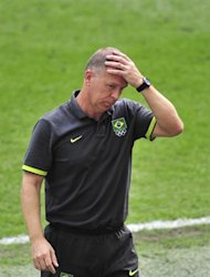 Brazil's coach Mano Menezes reacts during the men's football final match between Brazil and Mexico at Wembley stadium in London during the London Olympic Games on August 11, 2012. AFP PHOTO / GLYN KIRK