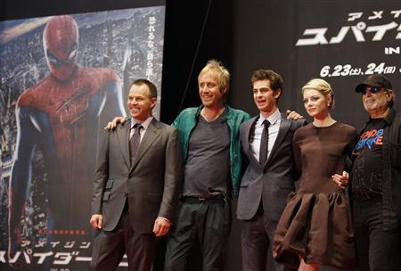 "Director Webb poses with cast members Ifans, Garfield and Stone and producer Arad at the world premiere of ""The Amazing Spider-Man"" in Tokyo"