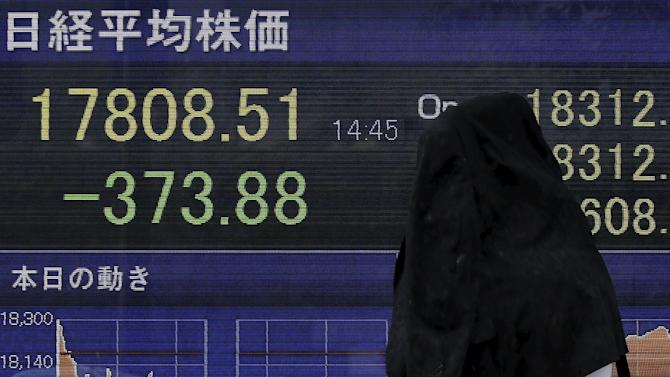 A pedestrian taking shelter from rain walks past an electronic board showing the Japan's Nikkei average outside a brokerage in Tokyo
