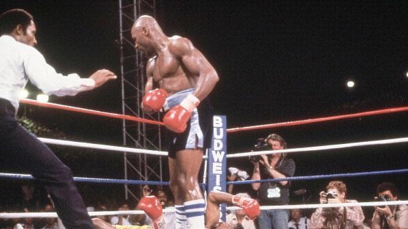 5. Marvelous Marvin Hagler KO3 Thomas Hearns, April 15, 1985 – Regarded by many as the best short fight in boxing history, Hagler was too powerful for Hearns and proved it in this all-out slugfest. Hagler was cut in the third and knew he'd have to do something dramatic. Hagler landed a right hook to the head that staggered Hearns. Hagler literally ran across the ring after Hearns and cracked Hearns with a right. Hearns fell face first as Hagler celebrated a hard-fought win. (Photo credit: Getty)