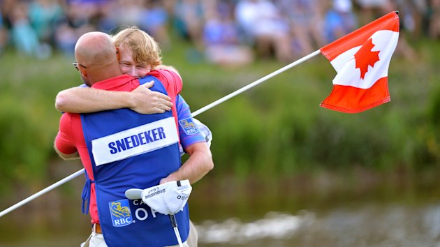 Brandt Snedeker of the United States celebrates winning the Canadian Open at Glen Abbey in Oakville, Ont., on Sunday, July 28, 2013. THE CANADIAN PRESS/Nathan Denette
