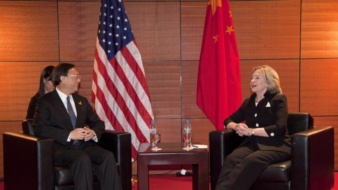 U.S. Secretary of State Hillary Rodham Clinton, right, meets with Chinese Foreign Minister Yang Jiechi during the ASEAN summit Saturday, Oct. 30, 2010 in Hanoi, Vietnam. (AP Photo/Evan Vucci, Pool)