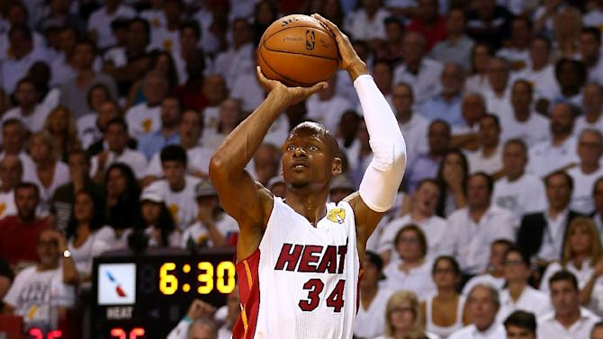 Ray Allen takes a shot for the Miami Heat during a game on June 12, 2014 in Miami, Florida