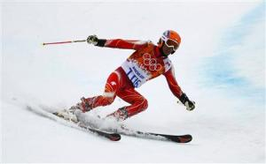 India's Thakur skis during the second run of the men's alpine skiing giant slalom event at the 2014 Sochi Winter Olympics
