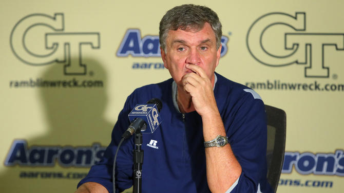Georgia Tech head coach Paul Johnson pauses during an NCAA college football news conference after announcing that defensive coordinator Al Groh has been fired, Monday, Oct. 8, 2012, in Atlanta. The move comes two days after Georgia Tech (2-4, 1-3 Atlantic Coast Conference) lost 47-31 to Clemson. The previous week, Georgia Tech gave up 49 points in an embarrassing loss to Middle Tennessee. (AP Photo/Atlanta Journal-Constitution, Curtis Compton)  MARIETTA DAILY OUT; GWINNETT DAILY POST OUT; LOCAL TV OUT; WXIA-TV OUT; WGCL-TV OUT