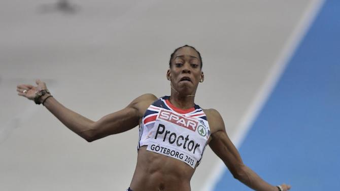 Britain's Shara Proctor competes in women's long jump final at the Athletics Indoors European Championships in Gothenburg, Sweden, Saturday, March 2, 2013. (AP Photo/Martin Meissner)