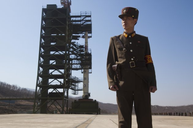 A North Korean soldier stands …