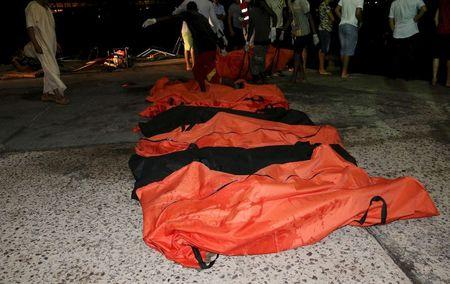 A view of the bodies of of dead migrants that were recovered by the Libyan coastguard after a boat sank off the coastal town of Zuwara