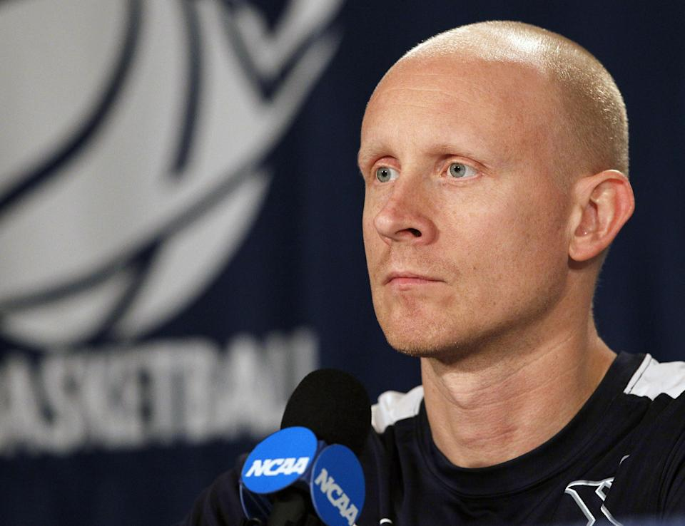 Xavier head coach Chris Mack appears during a news conference in Greensboro, N.C., Saturday, March 17, 2012. Xavier faces Lehigh in an NCAA tournament college basketball game on Sunday. (AP Photo/Gerry Broome)