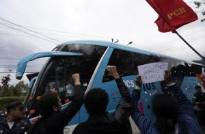 File photo of demonstrators protesting against the 2014 World Cup during the arrival of the Brazilian national soccer team at Granja Comary training center, in Teresopolis