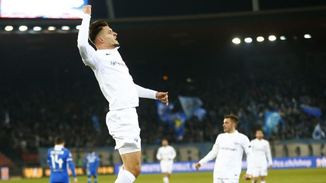 FC Zurich's Djimsiti celebrates his first goal against Apollon Limassol during their Europa League Group A soccer match in Zurich
