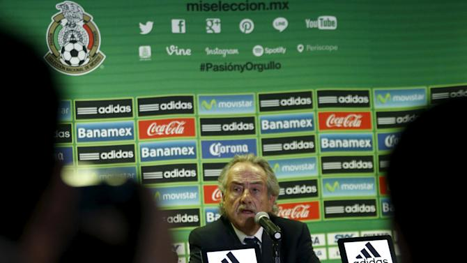 Mexican Football Federation President Decio de Maria speaks to the media during a news conference in Mexico City