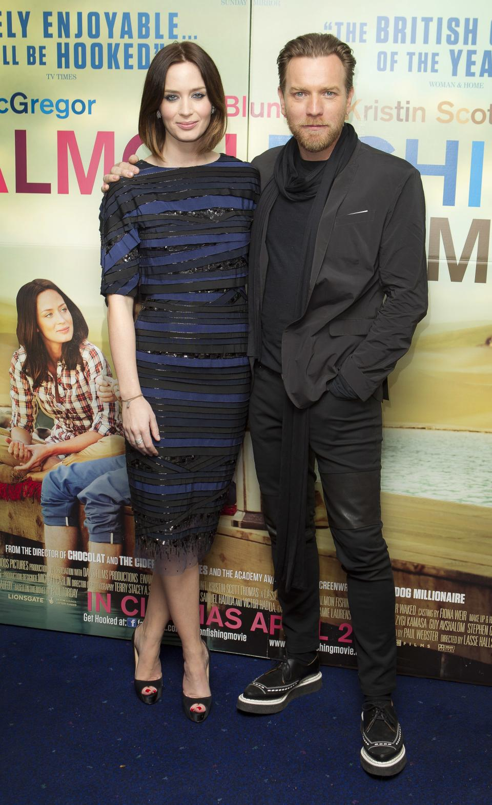 British actors Emily Blunt and Ewan McGregor arrive at the 'Salmon Fishing In The Yemen' European premiere at a west London cinema, Tuesday, April 10, 2012. (AP Photo/Joel Ryan)