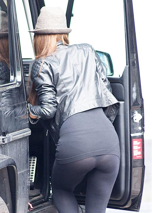 Myleene Klass' underwear was clearly visible through her leggings. We've all been there. Copyright [Splash]