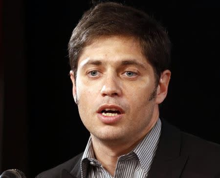 Argentina's Economy Minister Kicillof speaks during a news conference in Buenos Aires
