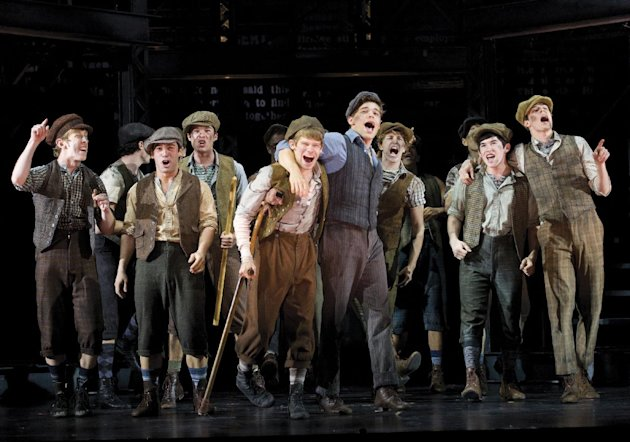 FILE - In this theater image released by Disney Theatricals, the cast of The Paper Mill Playhouse Production of &quot;Newsies,&quot; starring Jeremy Jordan, center right, is shown in New York. Disney Theatrical Productions said Thursday, Dec. 20, 2012, that the musical recouped its $5 million investment in just over nine months, faster than any Disney property. (AP Photo/Disney Theatricals, T. Charles Erickson, File)