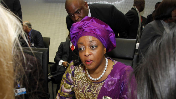 Nigeria's Minister of Petroleum Resources Diezani Alison-Madueke speaks to journalists prior to the start of the meeting of the Organization of the Petroleum Exporting Countries, OPEC, at their headquarters in Vienna, Austria, Wednesday, Dec. 12, 2012 . (AP Photo/Ronald Zak)