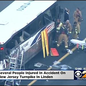 8 Hurt After NJ TRANSIT Bus, 3 Tractor-Trailers Collide Near Linden