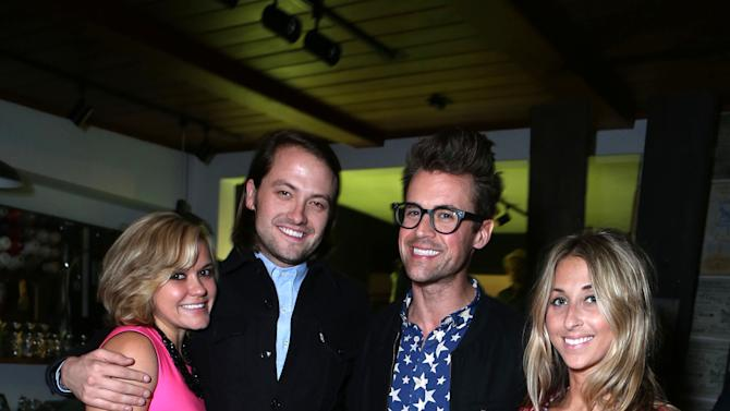"Lindsay Myers, Thomas Phillips, Brad Goeski and Hannah Soboroff at Brad Goeski dinner at Levi's Haus for ""It's a Brad Brad World"", on Tuesday, March, 19, 2013 in Los Angeles. (Photo by Alexandra Wyman /Invision for Levi's/AP Images)"