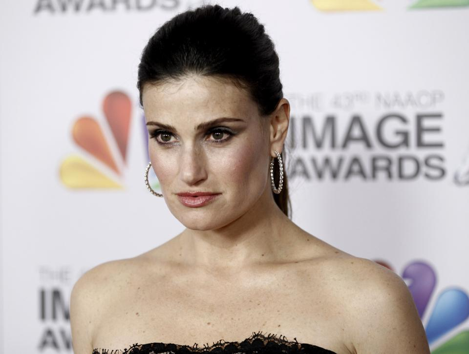 Idina Menzel arrives at the 43rd NAACP Image Awards on Friday, Feb. 17, 2012, in Los Angeles. (AP Photo/Matt Sayles)