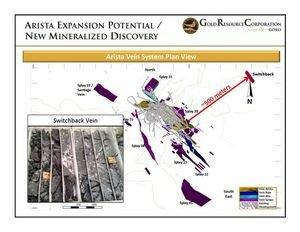 Gold Resource Corporation Discovers New Mineralized Zone at Arista Deposit With 500 Meter Stepout Including 2.2 Meters of 12.91 Grams Gold and 410 Grams Silver