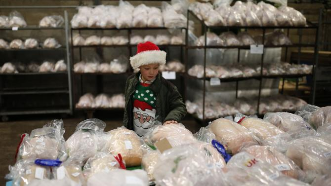 A young boy wearing a Santa hat looks at prize winning birds ahead of the Turkey and dressed poultry auction at Chelford Market
