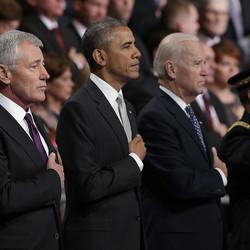 At Farewell, Obama Praises Chuck Hagel As 'True American Patriot'