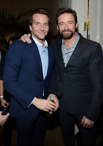 Bradley Cooper and Hugh Jackman get friendly at the BAFTA LA Awards Season Tea Party on January 12, 2013.