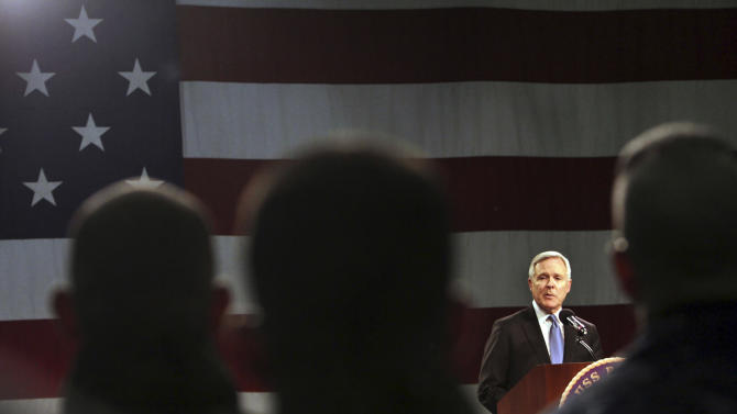"Navy Secretary Ray Mabus addresses sailors and Marines aboard the LHD Bataan at Norfolk Naval Station in Norfolk, Va., on Monday, March 5, 2012, during an ""all hands"" call that was televised and streamed live worldwide. Mabus outlined new initiatives in five areas, including responsible use of alcohol and reducing sexual assaults and suicides. (AP Photo/Virginian-Pilot, Vicki Cronis-Nohe)  MAGS OUT"
