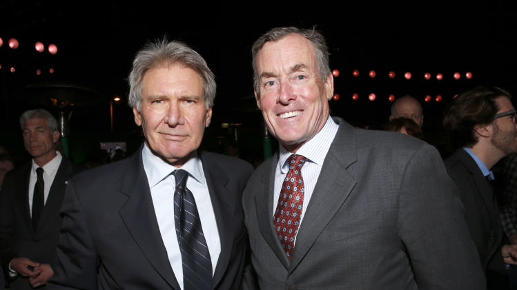 "Harrison Ford and John C. McGinley attend the after party for the LA premiere of ""42"" at the TCL Chinese Theater on Tuesday, April 9, 2013 in Los Angeles. (Photo by Todd Williamson /Invision/AP)"