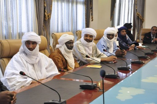 <p>A delegation of Mali's Tuareg MNLA group led by its secretary general Bilal Ag Acherif (L) attends talks on November 16 in Ouagadougou. A delegation of Tuareg rebels from northern Mali on Thursday held talks with top French foreign ministry officials on resolving the country's conflict, officials said.</p>