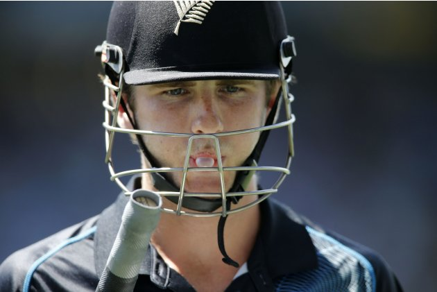 Williamson of New Zealand blows a bubble after being dismissed against England during the final cricket match of their ODI in Auckland