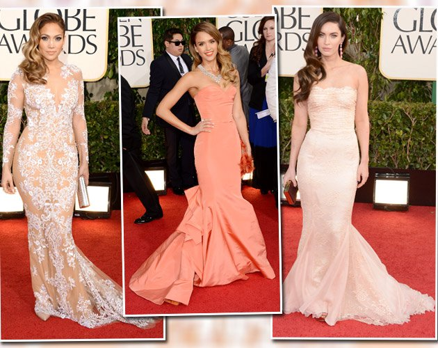 V.l.n.r.: Jennifer Lopez, Jessica Alba und Megan Fox im Fishtail-Dress (Bilder: Getty Images)