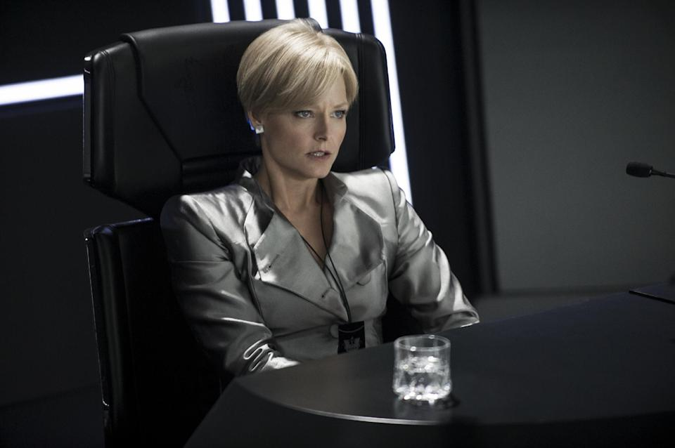 "This publicity photo released by Columbia TriStar Marketing Group, shows Jodie Foster as Secretary Delacourt in the CCB HQ Briefing Room being demoted in a scene from the film, ""Elysium."" (AP Photo/Columbia TriStar Marketing Group, Kimberley French)"