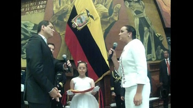 Ecuador's Correa sworn in for third term in office