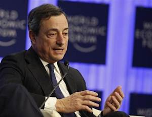 ECB President Draghi attends a session at the annual meeting of the World Economic Forum (WEF) in Davos