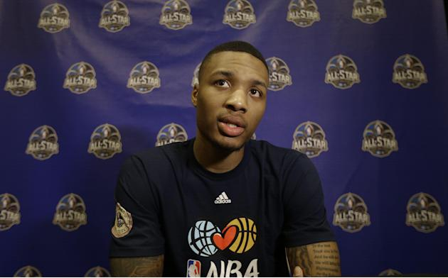 Portland Trail Blazers  player Damian Lillard  speaks during the NBA All Star basketball news conference, Friday, Feb. 14, 2014, in New Orleans. The 63rd annual NBA All Star game will be played Sunday