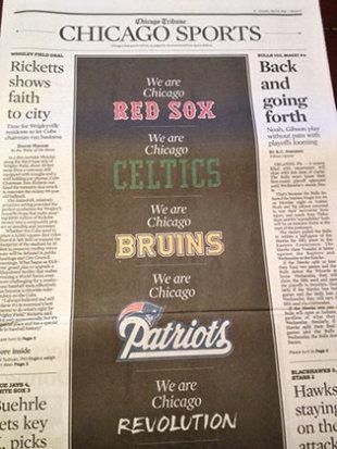 Chicago Tribune's sports section (Photo via @BaxterHolmes)