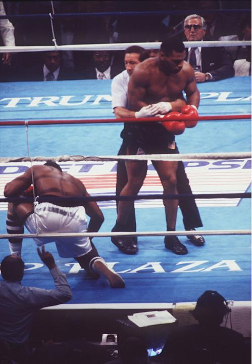 10. Mike Tyson KO1 Michael Spinks, June 27, 1988 – This fight was Tyson at his peak, as he terrorized a petrified Spinks. It was a matchup of two unbeaten men holding heavyweight belts, but Spin