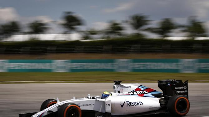 Williams driver Felipe Massa of Brazil steers his car during the second practice session for the Malaysian Formula One Grand Prix at Sepang International Circuit in Sepang, Malaysia Friday, March 27, 2015. (AP Photo/Vincent Thian)