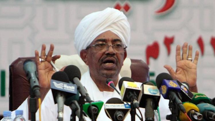 Omar al-Bashir speaks at press conference in Khartoum late on September 22, 2013