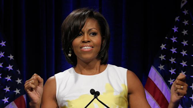 Michelle Obama speaks at the Democratic National Committee's Women's Leadership Forum, May 19, 2011.