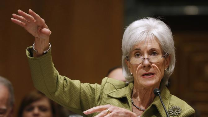 U.S. Secretary of Health and Human Services Sebelius talks before the Senate Finance Committee hearing on the President's budget proposal for FY2015, on Capitol Hill in Washington