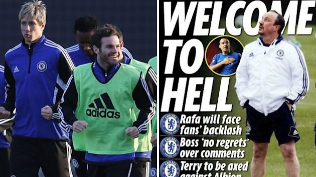 Chelsea players train (Reuters) / Daily Mirror backpage 01/03/2013