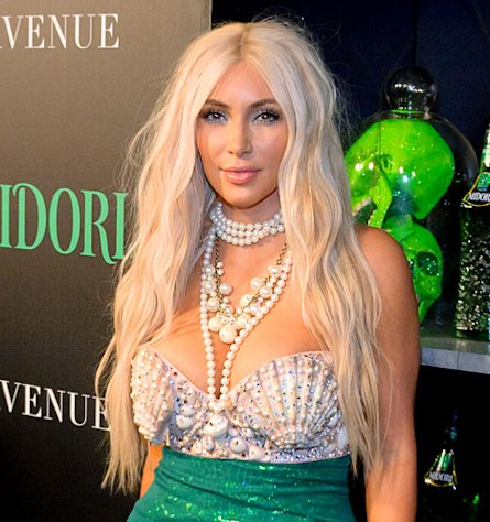 Kim Kardashian Wants to Dye Her Hair Blonde Like Halloween Mermaid Costume