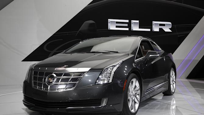 The Cadillac ELR debuts at media previews for the North American International Auto Show in Detroit, Tuesday, Jan. 15, 2013.  (AP Photo/Paul Sancya)