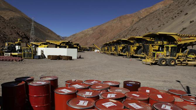 "Mining machinery and barrels with chemicals sit on the facilities of Barrick Gold Corp's Pascua-Lama project in northern Chile, Thursday, May 23, 2013. Chile's environmental regulator has stopped construction and imposed sanctions on Barrick Gold Corp.'s $8.5 billion Pascua-Lama project, citing ""serious violations"" of its environmental permit. (AP Photo/Jorge Saenz)"
